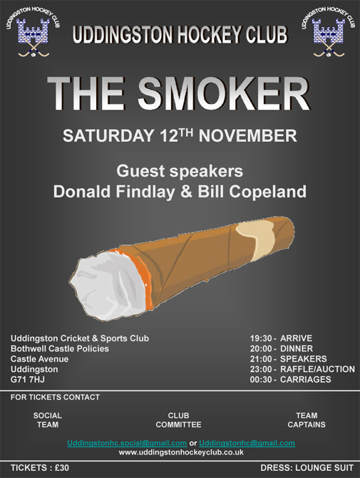 Uddingston Hockey Club Gents Smoker - Saturday 12th November