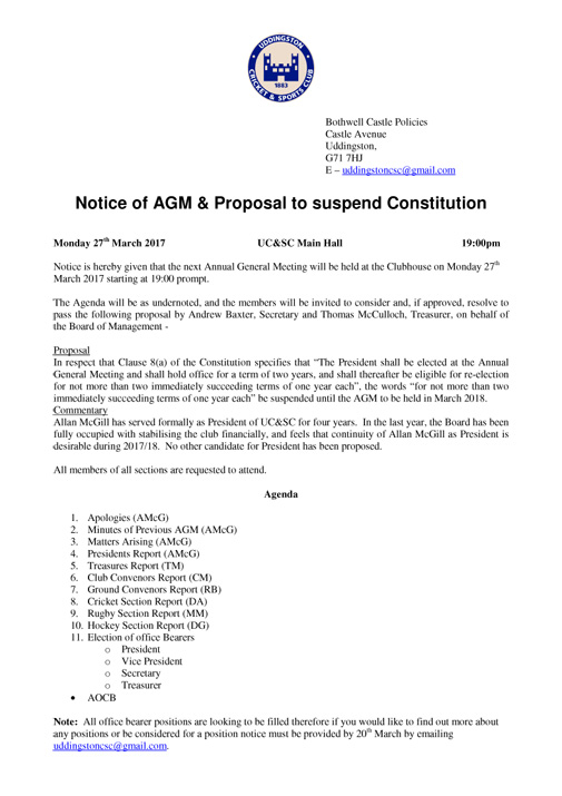 Notice of AGM & Proposal to suspend Constitution